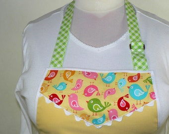 Full length Lotsa Pockets Apron,  Zipper Pocket Work Apron,  Hello Sunshine Yellow, ONE SIZE made to order, one size fits most