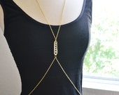 Stacked Crystals Gold Cross Body Chain