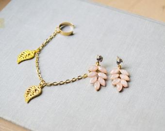 Pink Leaf Branch Gold Ear Cuff Earrings (Pair)
