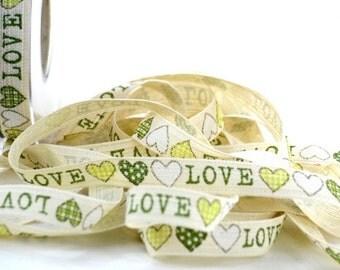 "Ribbon Cotton LOVE 5/8"" width 5 yards"
