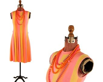 Vintage 1960's Francesca for Damon Italian Wool Knit Orange + Pink Stripe Mod Dress S