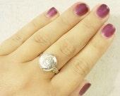 "ON SALE Locket Ring - Silver Mini Locket ""Poison Ring"" - Floral Design - Fully Adjustable"