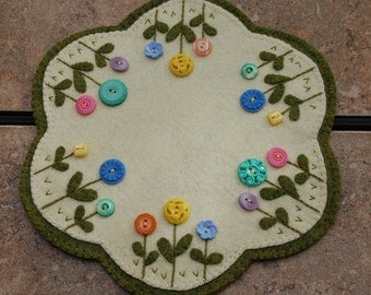 Vintage Button Flower Penny Wool Candle Mat