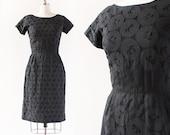 1950s Dress / Eyelet Embroidered Organza Dress / 1950s Sheath Dress / Black cottom Wiggle Dress / Extra Small Small