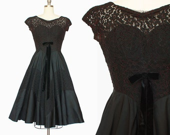 1950s Lace Dress / Black Lace Party Dress / 1950s Full Skirt Dress / Lace Bodice Dress / Extra Small / 24 Waist / Cocktail Party Dress