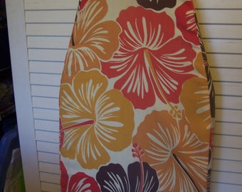 Ironing Board Cover Coral, Gold & Brown Hawaiian Floral Design