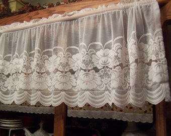 "SALE ~ Pair Off-White Sheer Lace Floral Valances 118"" Wide x 18 Inches Long (2 sets available)(DM)"