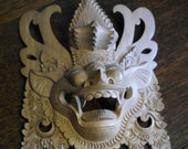 asian hand carved wood dragon mask wall plaque