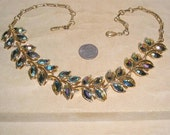 Vintage Coro Peacock Marquise Necklace With Purple Iridescent Rhinestones 1960's Signed Jewelry 16
