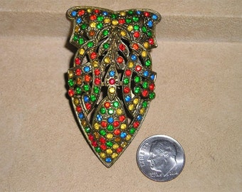 Vintage Multi Colored Rhinestone Dress Clip  1930's Signed Pat. 1801128 Jewelry 19