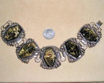 Vintage Large Black Confetti Lucite Bracelet 1950's Jewelry 2054