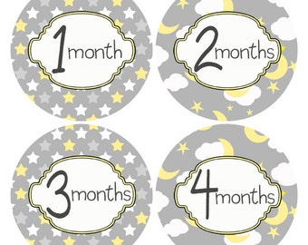 Monthly Baby Milestone Stickers Baby Month Stickers Moon and Star Stickers Monthly Stickers Baby Shower Gift Yellow Gray Photo Prop #701