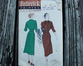 Butterick 5341 1950s 50s Batwing Dress Vintage Sewing Pattern Size 14 Bust 32