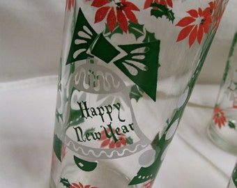 Vintage Christmas Glasses Tumblers Mid Century Merry Christmas Happy New Year