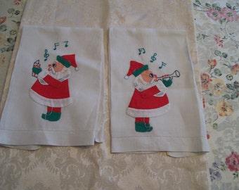 Vintage Santa Towels Set of 2 Singing Santa Claus Guest Fingertip Towel Christmas Holiday Finger Tip Guest Decorative Holiday Towels