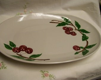 Orchard Ware Cherry Platter Vintage Serving Plate 1950s California Pottery