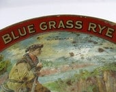 RUSTIC Blue Grass Rye Whiskey Serving TRAY Pioneer Hunter with Gun Raccoon Hat and Dog Daniel Boone Era Beer Drinks Man Cave Decor
