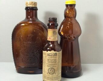 Vintage Mrs. Butterworth's Pancake Syrup Bottle, Brown Bottle, Amber Bottle, Bottle Shaped as Woman
