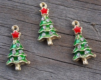 6 Enameled Christmas Tree Charms 18mm Gold with Green Enamel and Rhinestones REDUCED PRICE