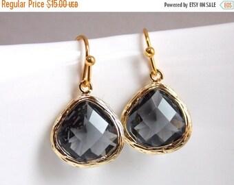 SALE Gray Earrings, Glass Earrings, Charcoal, Gold Earrings, Grey, Silver, Bridesmaid Earrings, Bridal Earrings Jewelry, Bridesmaid Gifts