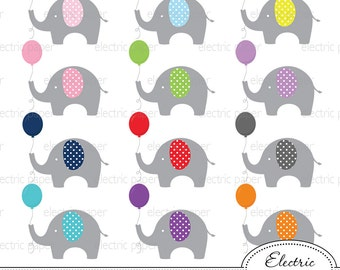 Elephant with Balloon Clip Art - Elephants polka dot - Elephant - jpg and png files - eps file - personal and small commercial use