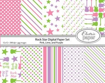 Electric Guitar Rock n Roll Digital Paper Set - Pink, Lime, and Purple  - guitar stars dots stripes rock .jpg 300dpi - Instant Download