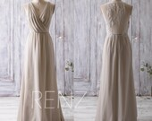 2016 Light Grey Bridesmaid Dress Long, Ruched V Neck Wedding Dress, Lace Back Prom Dress, Maxi Dress, Chiffon Evening Dress Floor (L092A)
