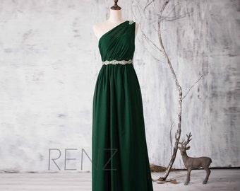 2016 Dark Green Bridesmaid dress, One Shoulder Illusion Wedding dress, Beading Sash Prom dress Backless, Formal dress floor length (H158)