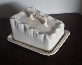 Old Ivory Ironstone Cheese Tray with Cover
