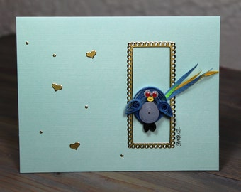 Funky quilled bird card in a golden frame/quilled card/blank card/quilled bird