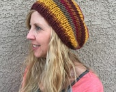 CLEARANCE Earth Toned Striped Slouch Beanie