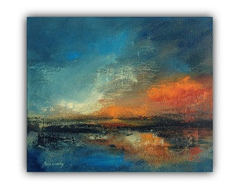 "Abstract landscape oil painting - Red sunset- Original blue, red, orange textured abstract artwork - 9,8"" x 11,8"""