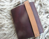 flask cover - hand stitched, reclaimed leather