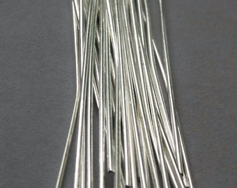 1 inch Silver Plated Head Pin, 22 Gauge, Medium Gauge Wire, Pack of 100  *CLEARANCE*