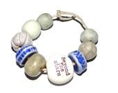 Ceramic Bead Set Stoneware Handmade Pottery Beads White Blue Word Quote
