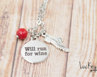 Will Run for Wine Necklace, Running Necklace, Running Jewelry, Running Charm Necklace, Triathlon Necklace, Triathlon Jewelry, Run Bike Swim