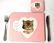 Kids Welsh Cat Pink Girls Melamine Placemat and Coaster Set