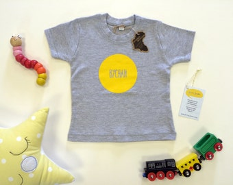 SALE Welsh Text Bychan Little Baby Clothes Light Grey T-shirt Yellow Unisex