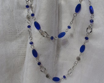 Cobalt blue glass and silver necklace, 42 in silver and blue necklace, cobalt blue necklace, 42 in blue necklace, long silver blue necklace