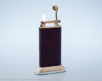 Silverplate 1940s Dunhill Standard Table Lighter With Ostrich Leather Covering