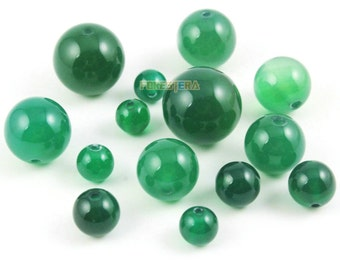 8mm Green Agate Bead Green Round Agate Bead for Jewelry (BEAD-A23-8)