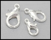 BULK 100 SILVER 10mm Lobster Clasps - 10x5mm Alloy Metal Lobster Claw Clasp - USA Wholesale Discount Clasp - Instant Ship - 5883
