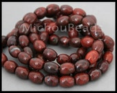 6 Beads - 9.5mm Brecciated JASPER Oval Beads - Natural Genuine Gemstone Barrel Smooth B Grade Bead - Instant Shipping - USA - 6794