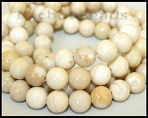 """16"""" Strand - 6mm IVORY Natural RIVERSTONE - Round Opaque Natural River Stone Gemstone Wholesale Bead -  Instant Ship from USA  - 5297"""