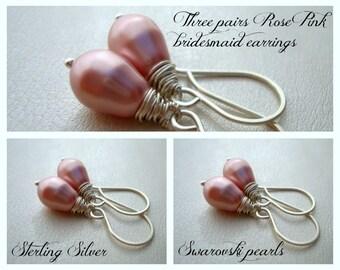 Bridesmaid Gift - Set of 3 - Bridesmaid Earrings - Pink Pearl Earrings - Pearl Drop Earrings - Swarovski Pearls - Simple pearl earrings