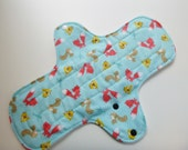 12 inch cloth pad - cloth menstrual pad - heavy flow pad - plus size cloth pad - mama pad - teal woodland animals flannel - ready to ship *