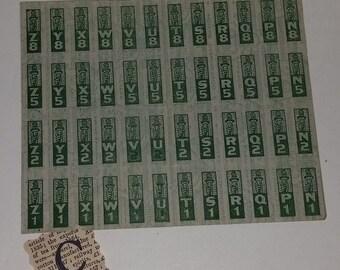 01 C WWII era 48 ration stamps full sheet green image page Vintage military paper ephemera art supplies