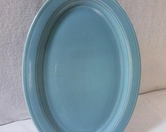 Vernon Kilns Platter Turquoise Early California 12-Inch Oval Platter