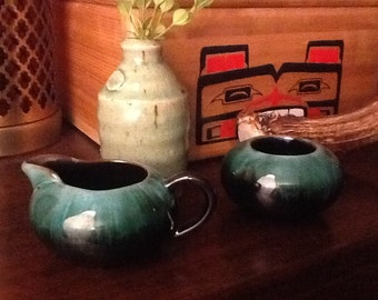 Vintage Blue Mountain Pottery Cream and Sugar Set Late 1960s Canada