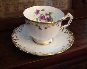 Vintage 1950's Aynsley tea cup and saucer tulip shaped white with gold accents and violets